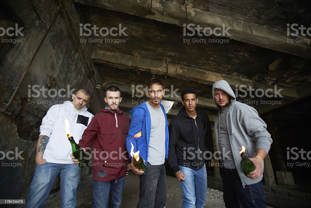 Dudes with fire royalty-free stock photo