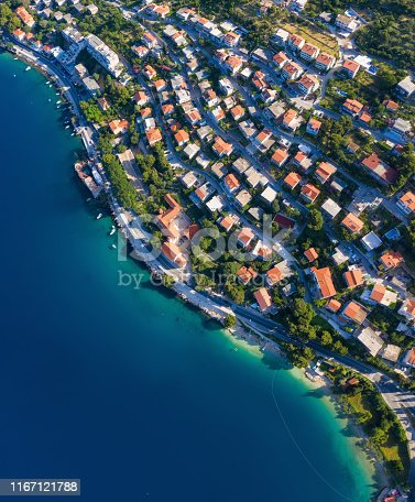 istock Dudrovnik, Croatia. Aerial view at the town. Vacation and adventure. Town and sea. Top view from drone at on the houses and azure sea. Travel - image 1167121788