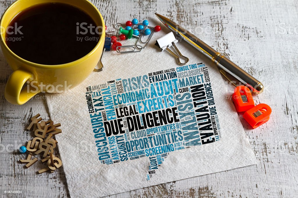 Due Diligence word cloud stock photo