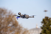 Due to coronavirus interventions,the police warned people on the street to stay at home with a special drone with a thermal temperature measuring camera,Eyupsultan,Istanbul