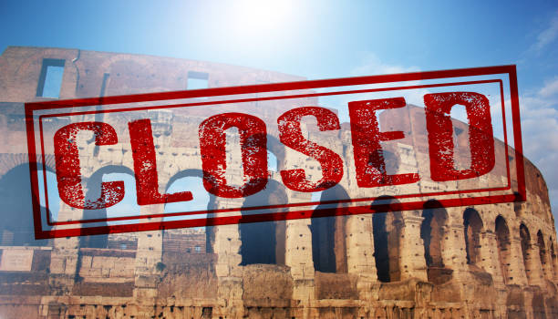 Due to the epidemic of the COVID-19 virus the Colosseum of roma is closed. stock photo