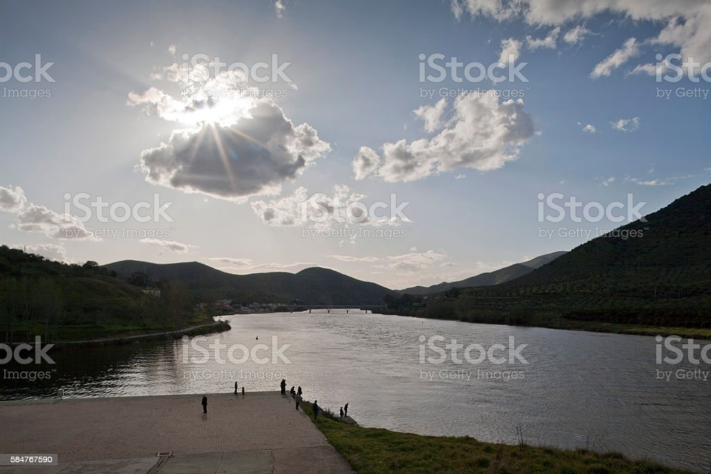 Duero River at the Spanish/Portuguese border stock photo