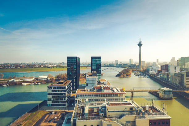 duesseldorf cityscape, germany duesseldorf media harbor and skyline with tv tower in germany. north rhine westphalia stock pictures, royalty-free photos & images