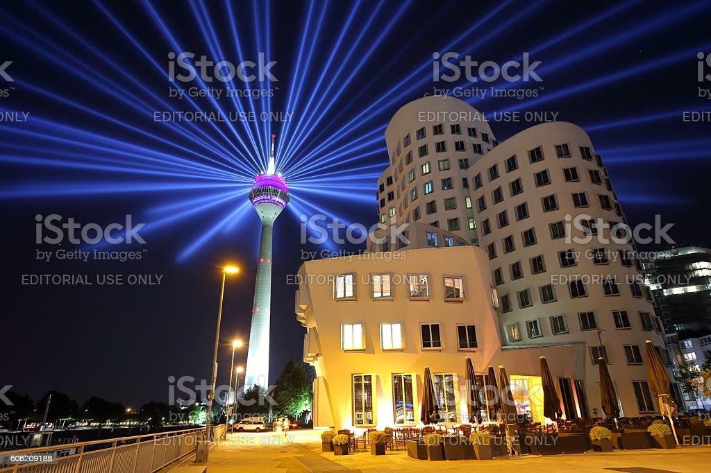 Duesseldorf Gehry building and Rheinturm tower stock photo