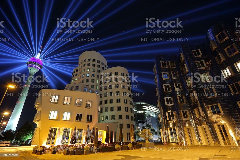 Duesseldorf Gehry buildings and Rheinturm tower stock photo