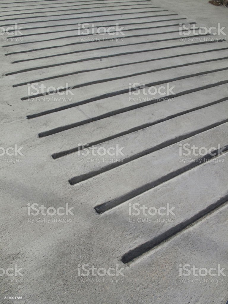 Dug a ditch for non-slip concrete slope stock photo