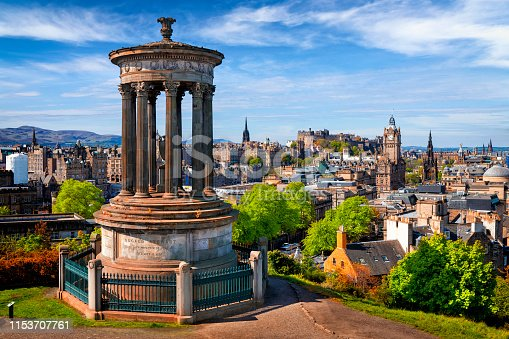 Dugald Stewart Monument and view over historic Edinburgh from Calton Hill, Scotland, UK