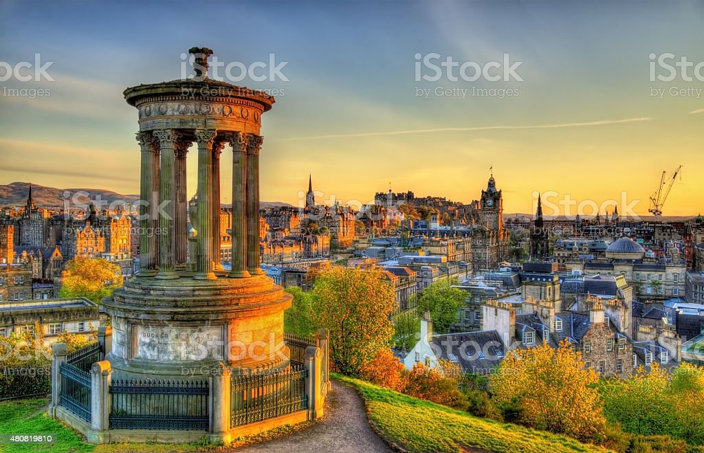 Dugald Stewart Monument on Calton Hill in Edinburgh - Scotland stock photo