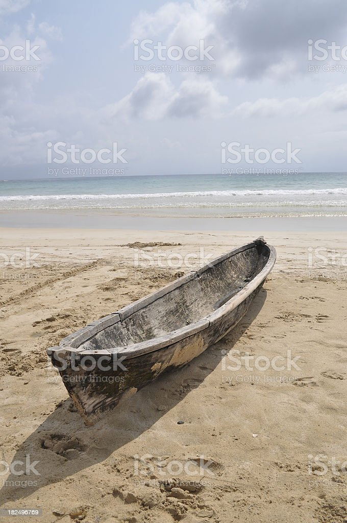 Dugout Canoe on tropical beach near Bocas Del Toro, Panama royalty-free stock photo