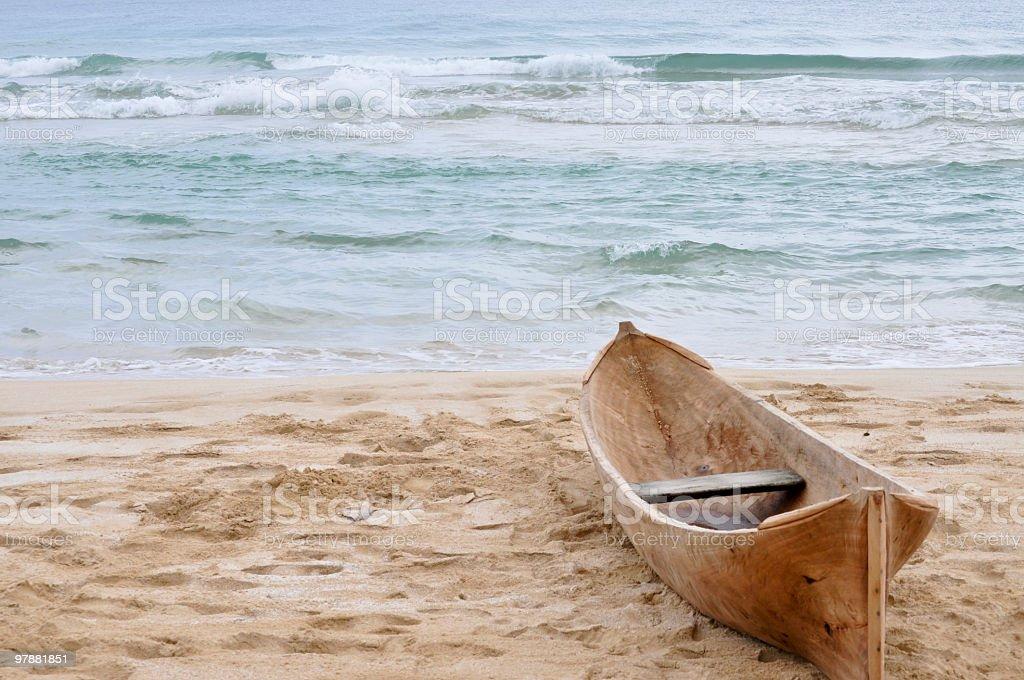 Dugout Canoe On Tropical Beach Near Bocas Del Toro, Panama royalty-free stock photo