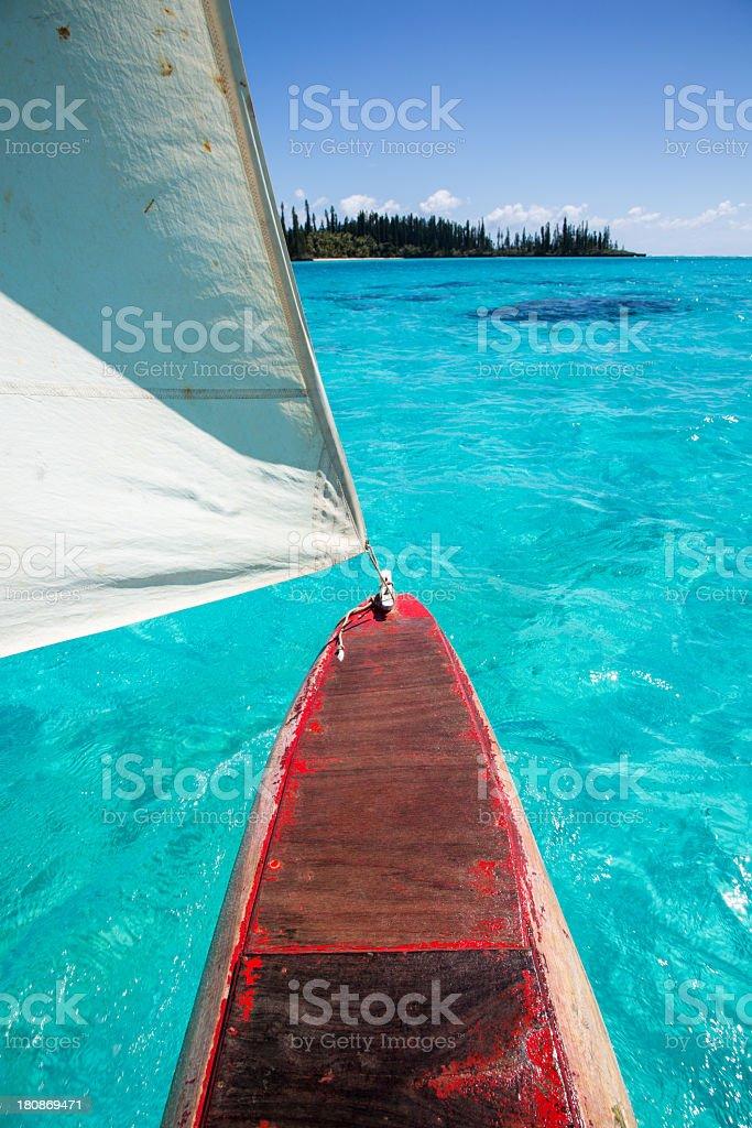 Dugout Canoe Ride on Isle of Pines, New Caledonia stock photo
