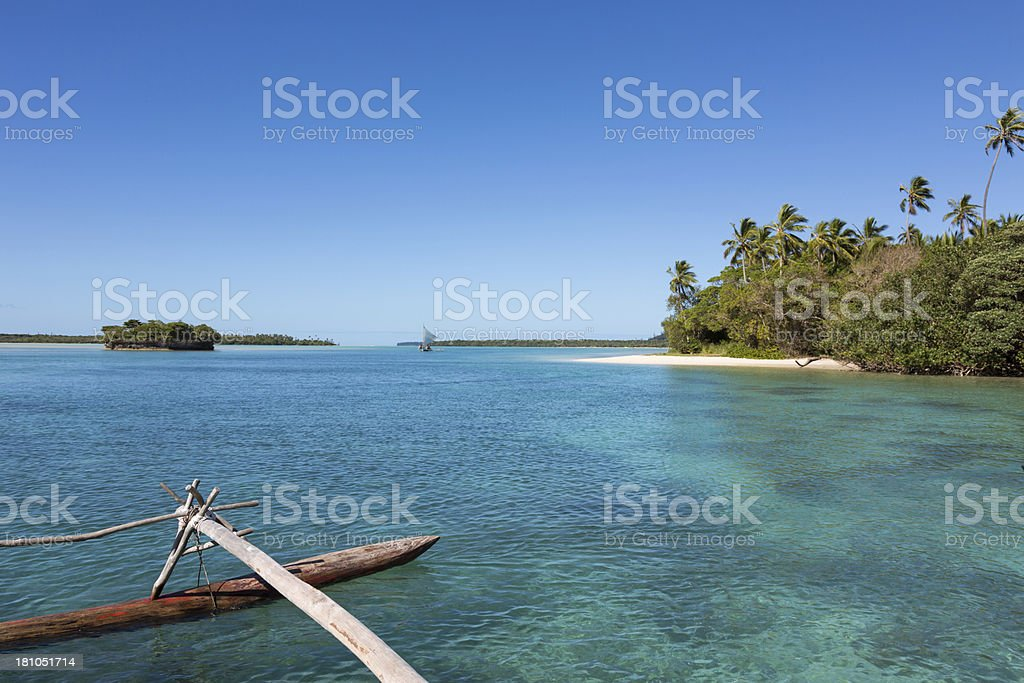 Dugout Canoe Ride on Isle of Pines, New Caledonia royalty-free stock photo