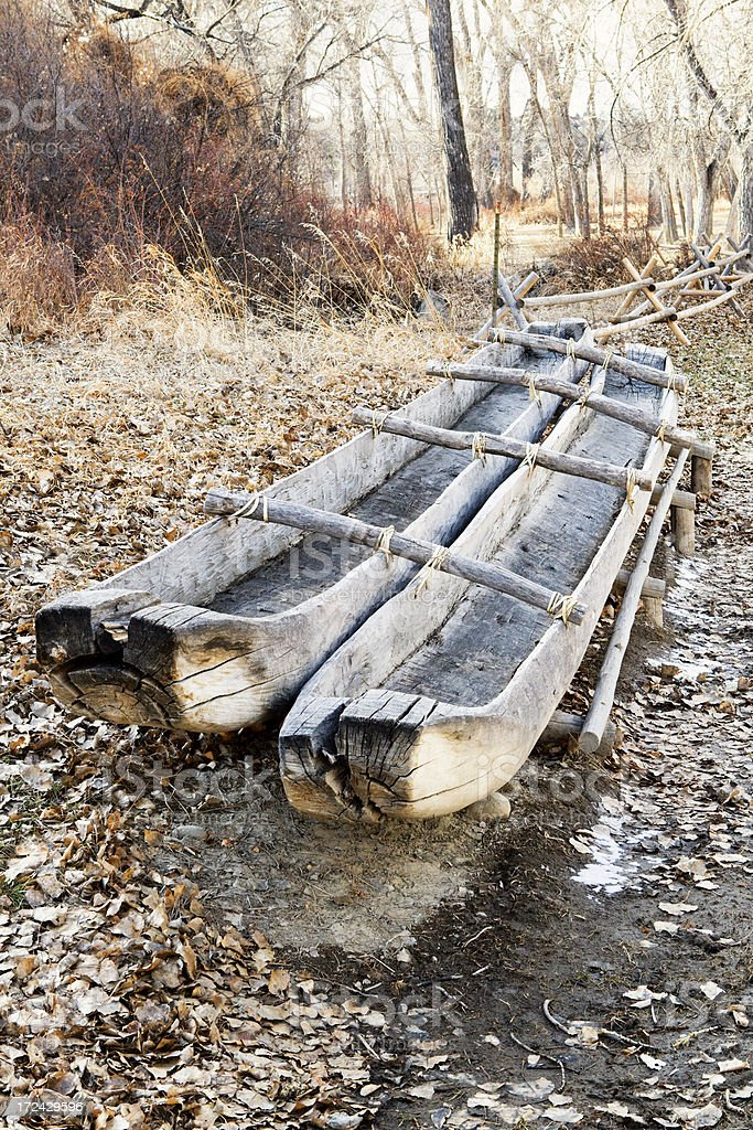 Dugout Canoes at Pompeys Pillar National Monument royalty-free stock photo