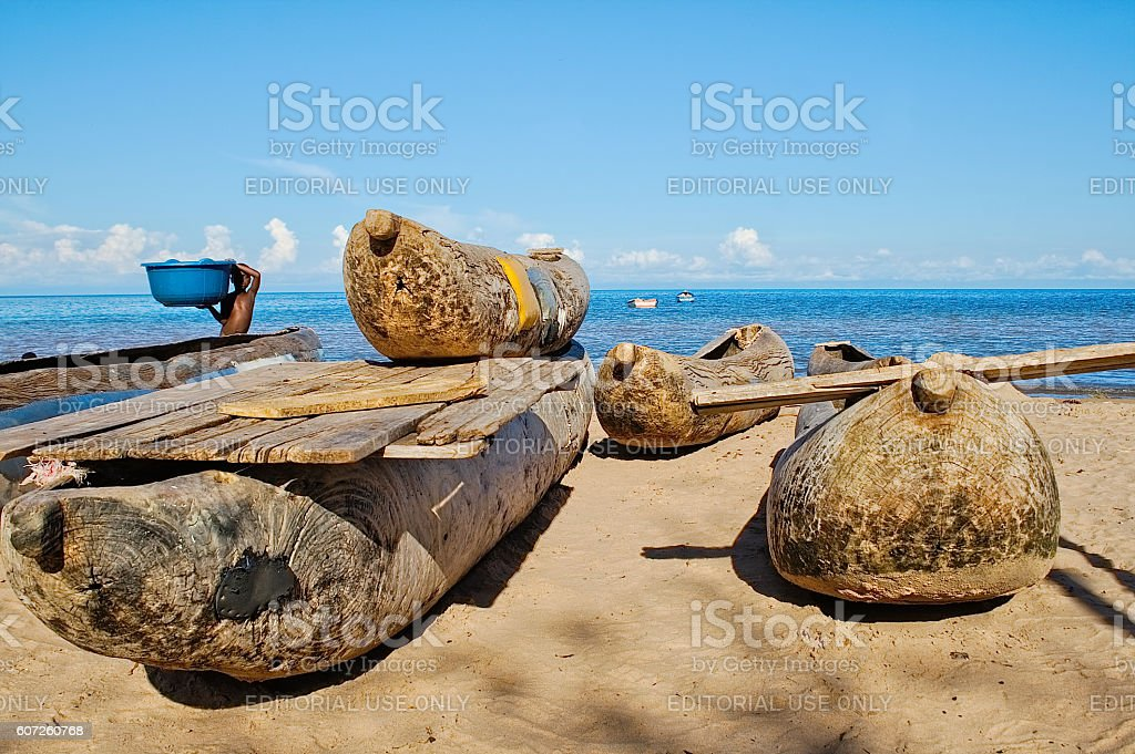 Dugout canoes at the shore of Lake Malawi stock photo