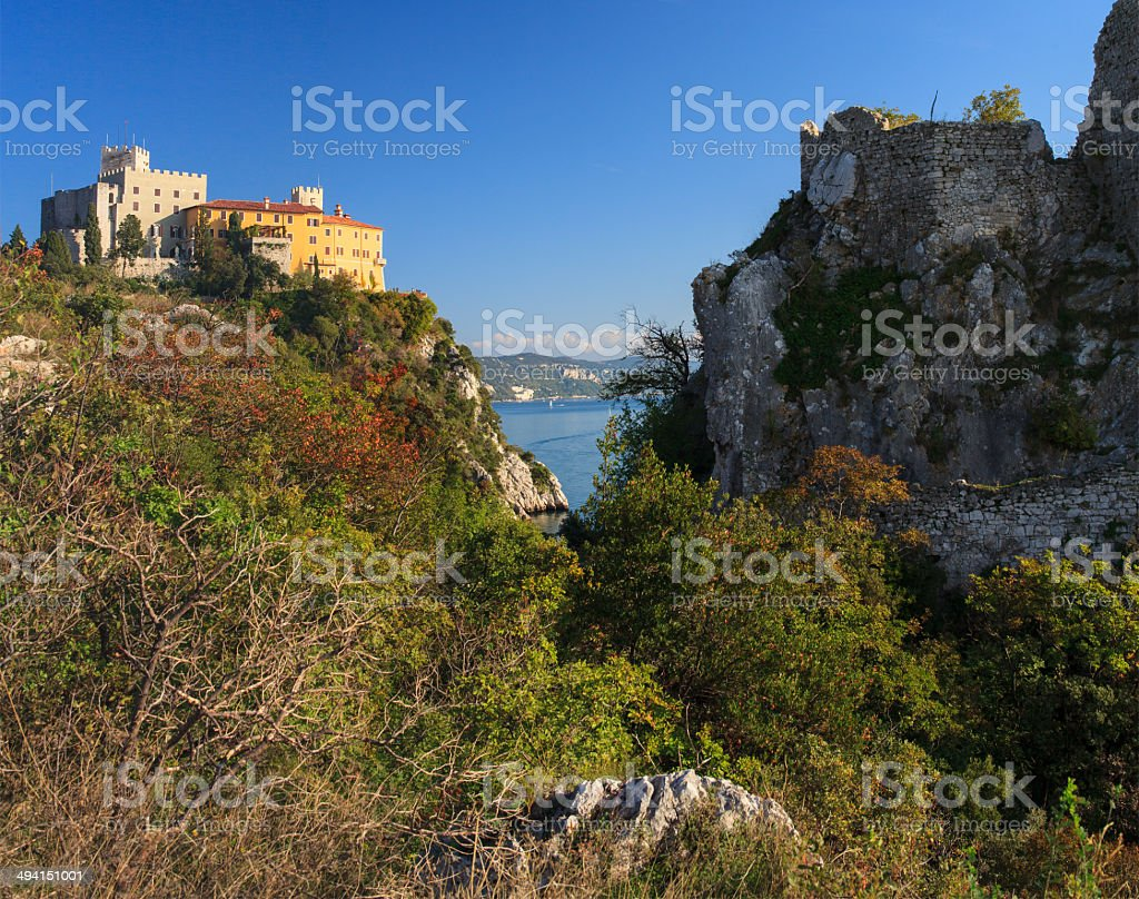 Duino castle stock photo
