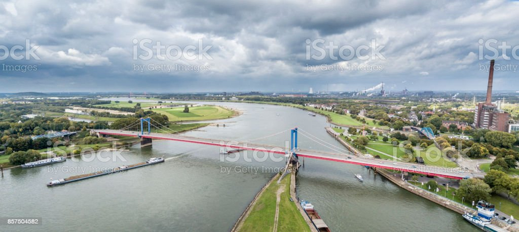 Duisburg / Germany - October 03 2017 : The Friedrich-Ebert Bridge is connecting Ruhrort and Homberg stock photo
