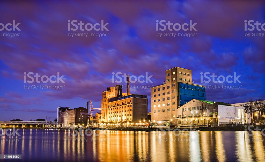 Duisburg harbor district in the evening stock photo
