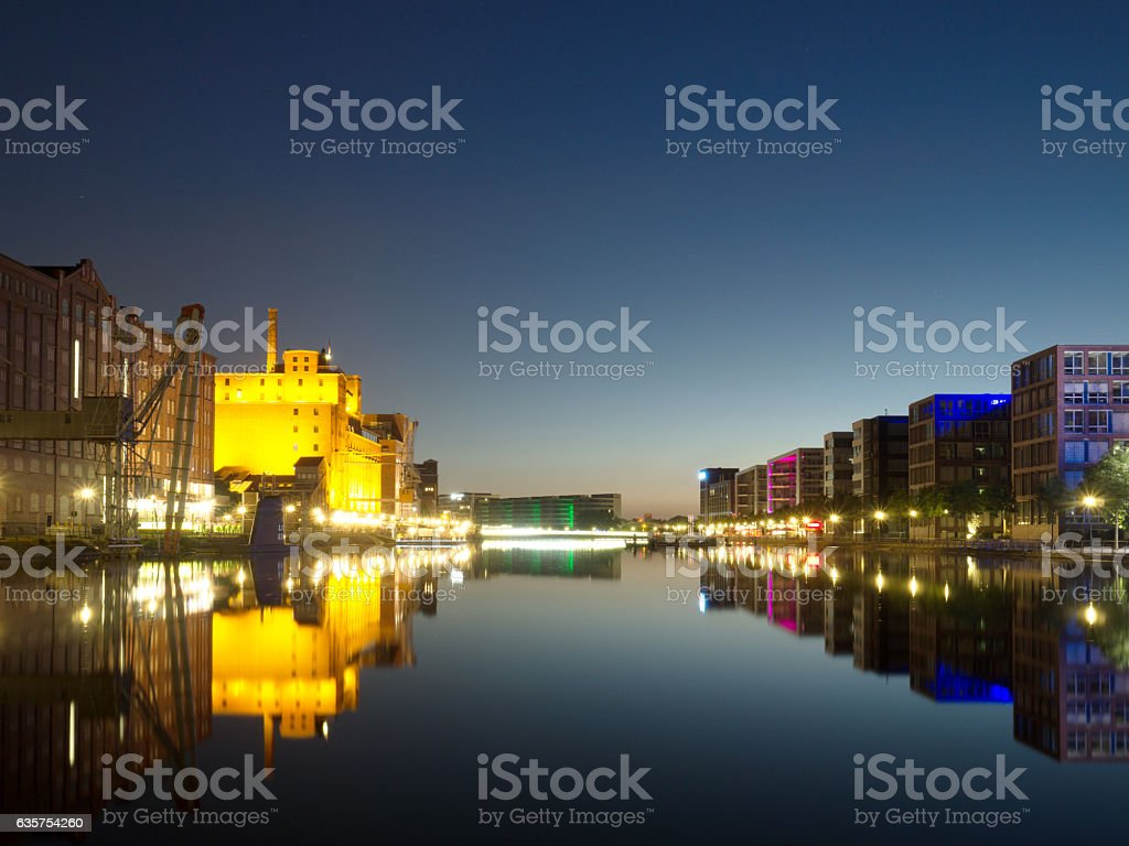 Duisburg Inner Harbor by Night stock photo