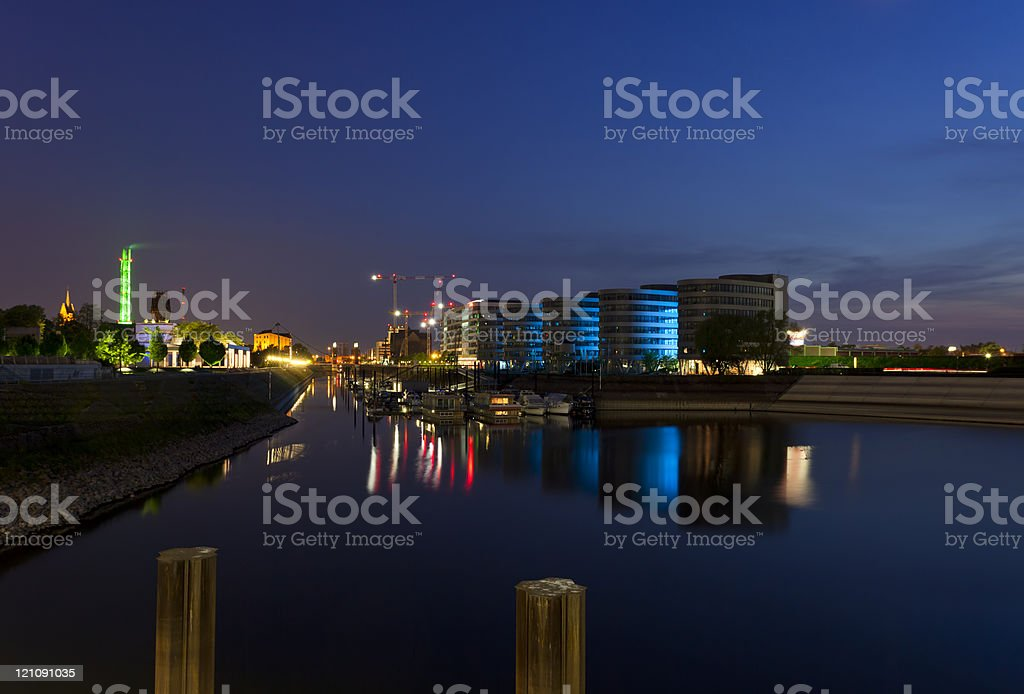 Duisburg Inner Harbor Marina stock photo