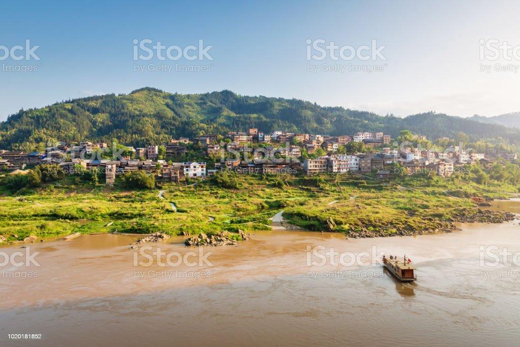 Duliu River Village Ferry Guangxi China stock photo