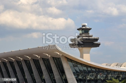 High resolution picture of Dulles airport terminal and control tower. All copyright content removed using photoshop.