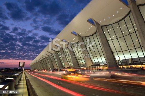 Sunrise at the main entrance to Washington Dulles Airport