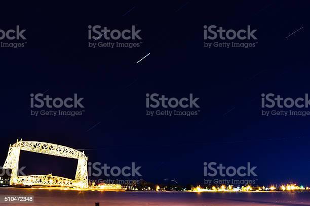 Photo of Duluth Aerial lift bridge star trails