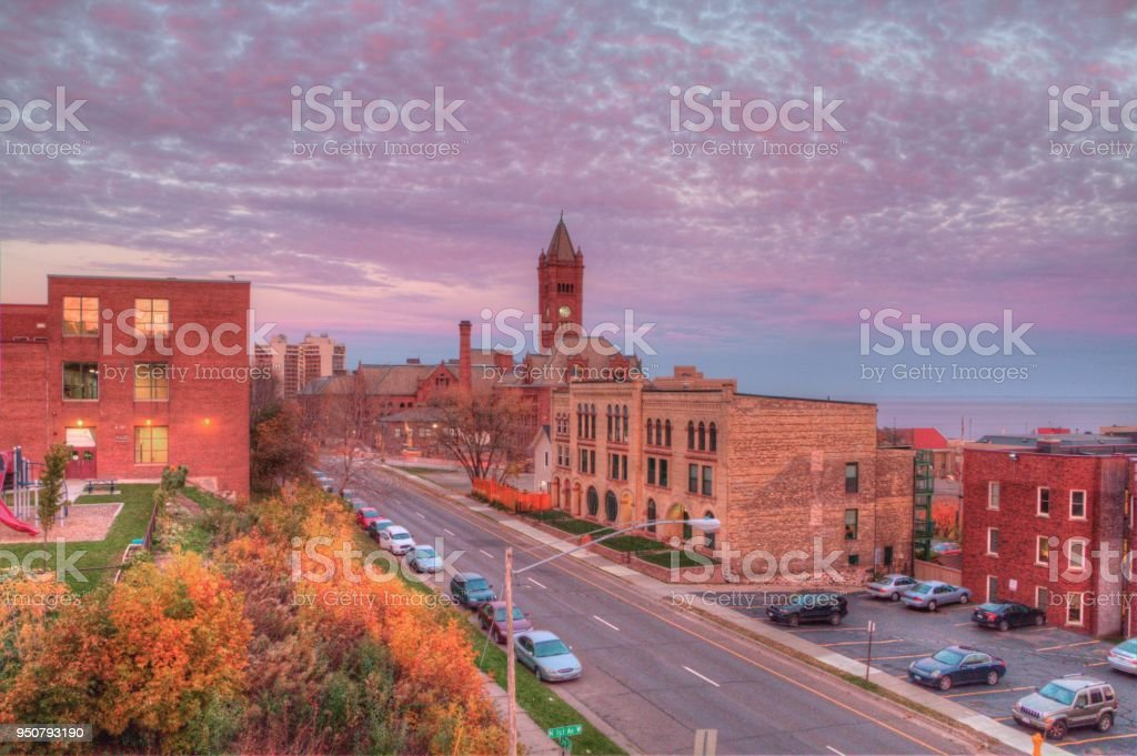Duluth is a popular Tourist Destination in the Upper Midwest on the Shores of Lake Superior in Far North Minnesota - Royalty-free Architecture Stock Photo