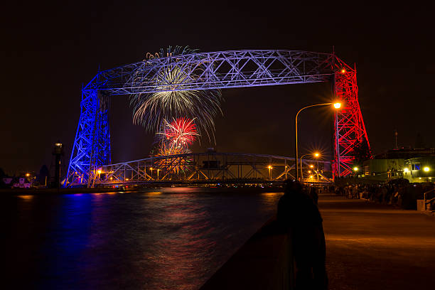 Duluth Lift Bridge Fireworks stock photo