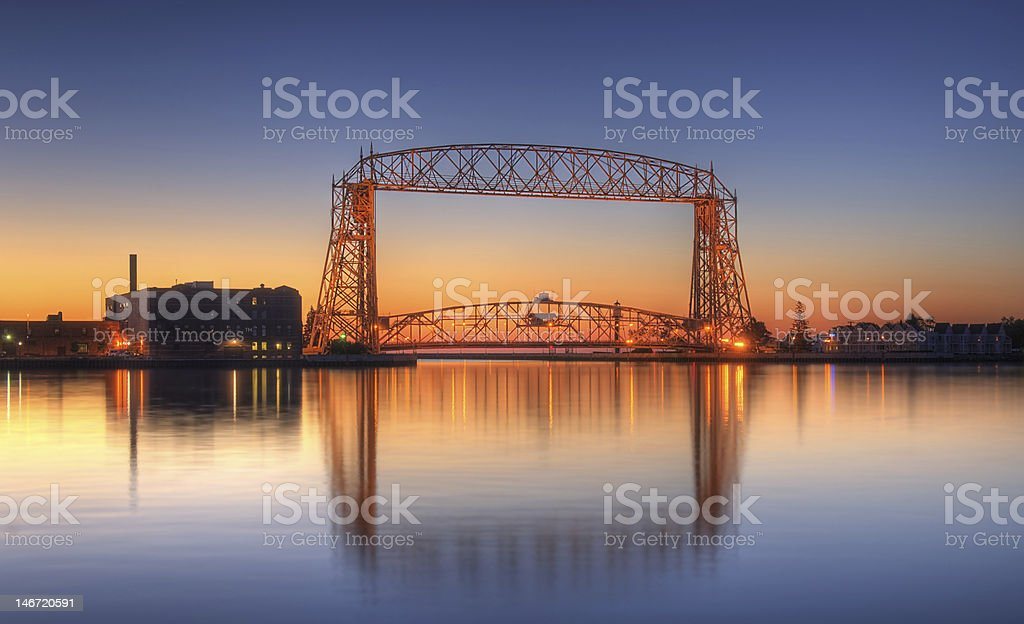 Duluth Minnesota Lift Bridge Dawn stock photo