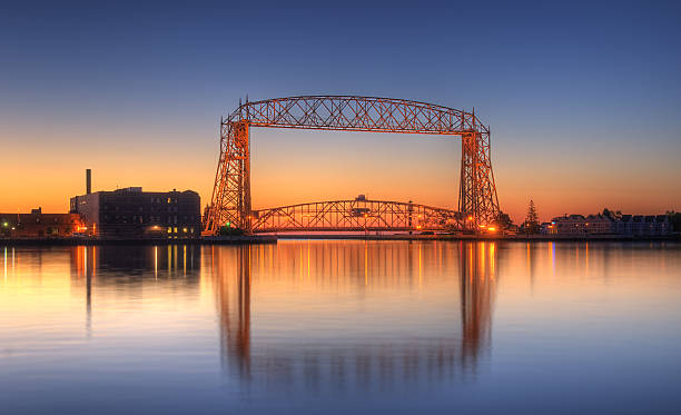 Duluth Minnesota Lift Bridge Dawn stock photo