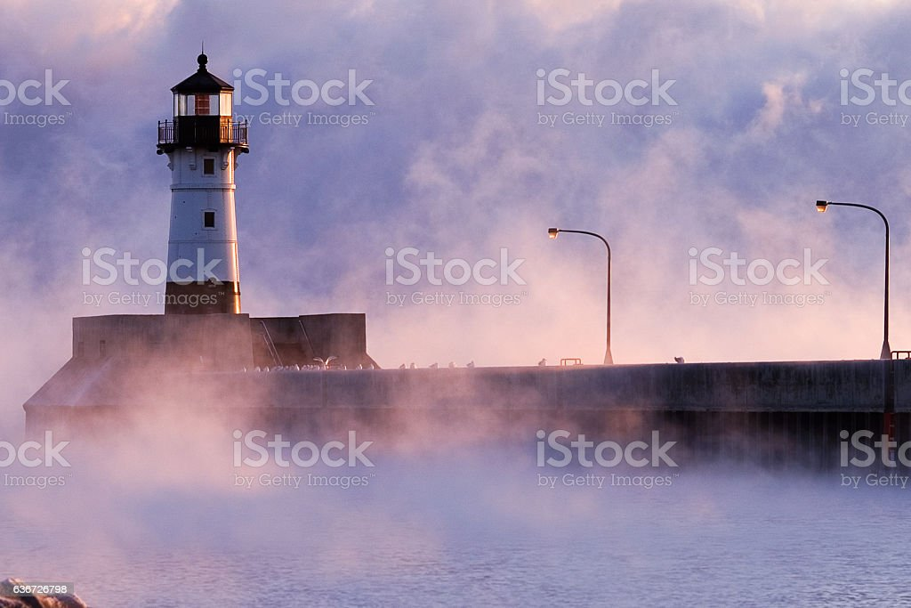 Duluth shipping channel at -20 stock photo