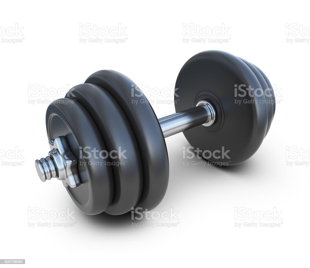 Dumbbell. 3D Icon isolated on white background stock photo