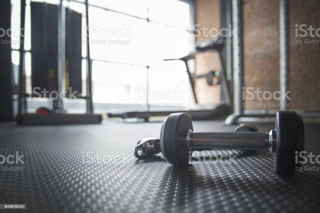 Hantel Und Seil Auf Dem Boden Im Fitnessraum Mit Laufband Im