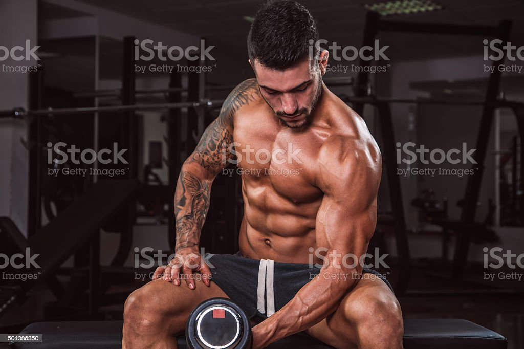 Dumbbell Bicep Curls stock photo
