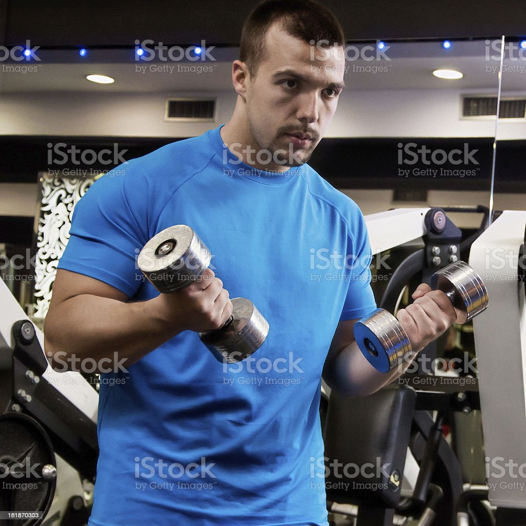 Dumbbell biceps curls royalty-free stock photo