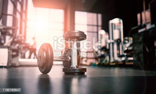 Dumbbell in luxury clubhouse wait for exercise in the morning