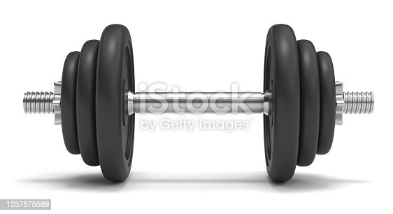 dumbbell, isolated, white background, barbell, 3d rendering