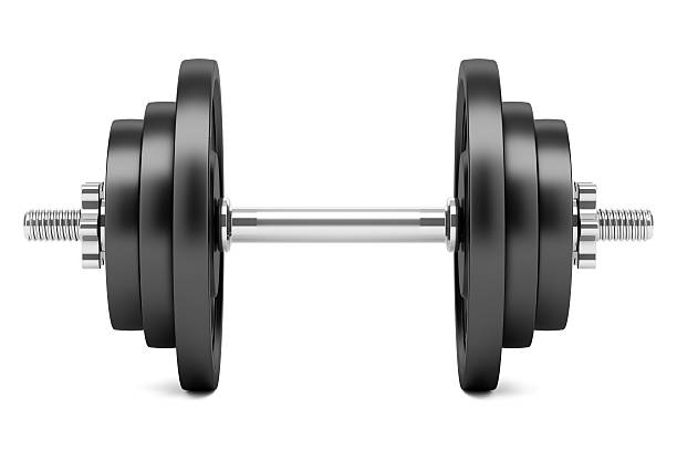 dumbbell isolated on white background - dumbbell stock pictures, royalty-free photos & images