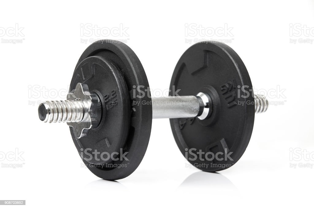 Dumbbell on white stock photo