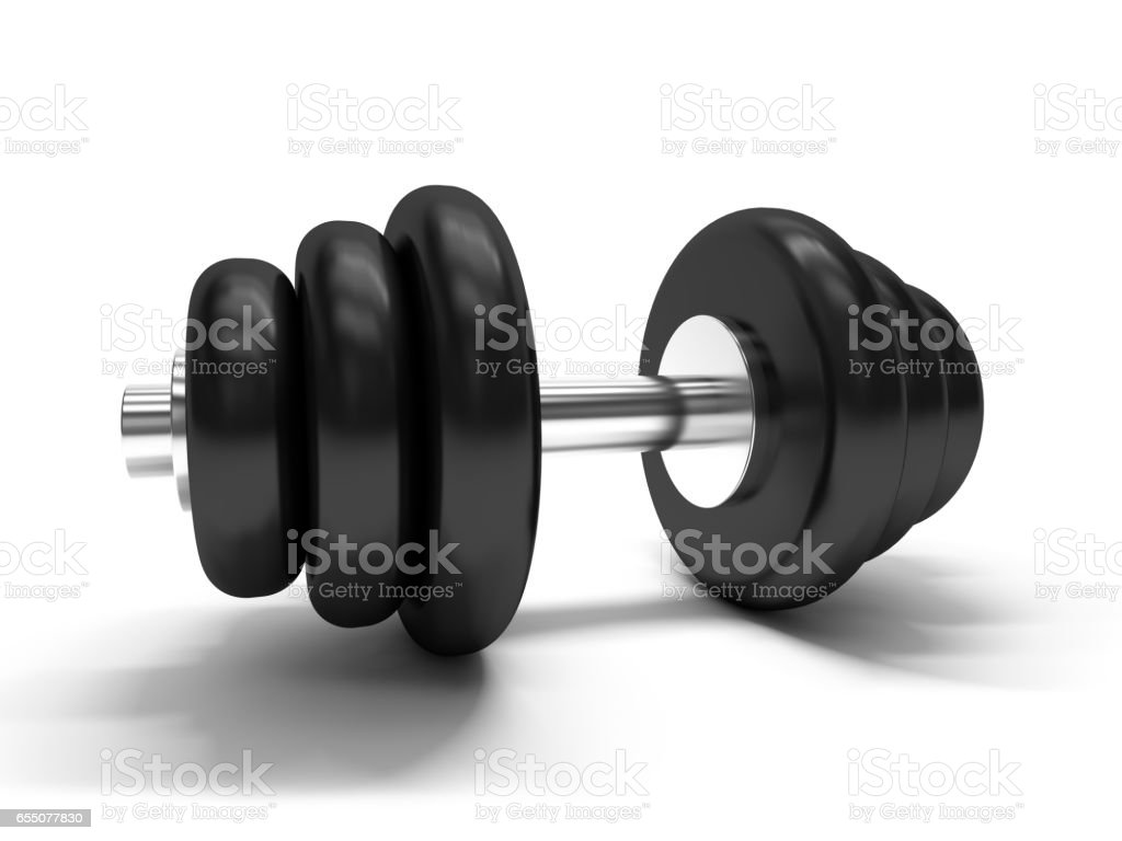 Dumbbell over white background. 3D rendering stock photo