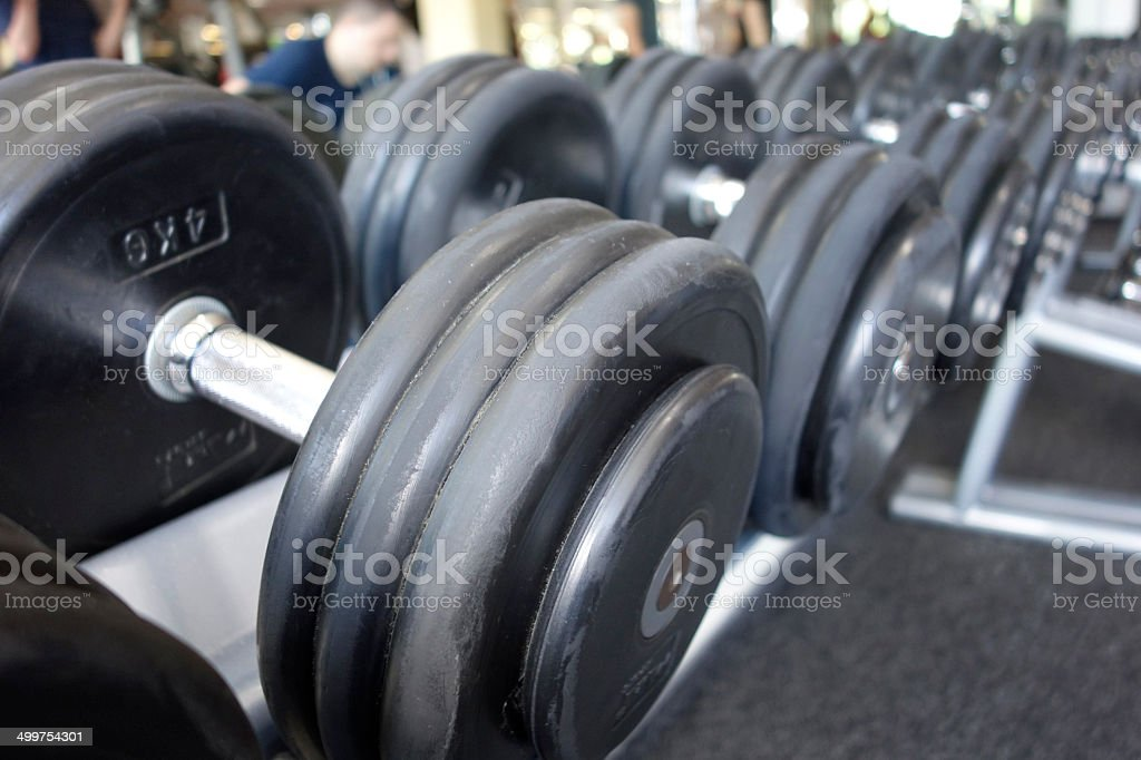 Dumbbell rack in gym royalty-free stock photo