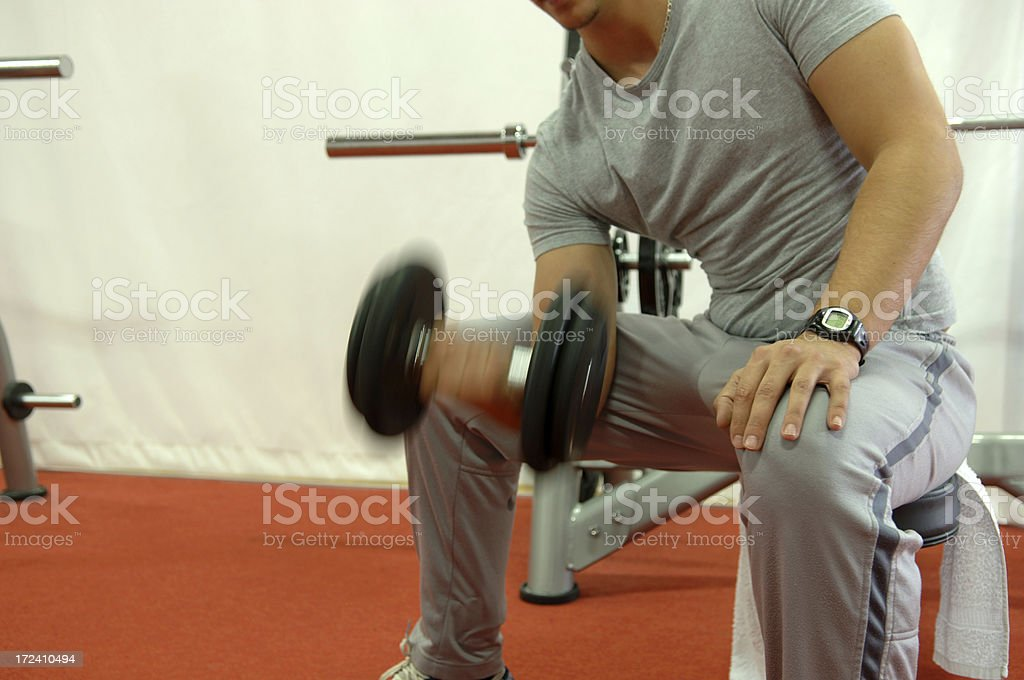 Dumb-bell training royalty-free stock photo