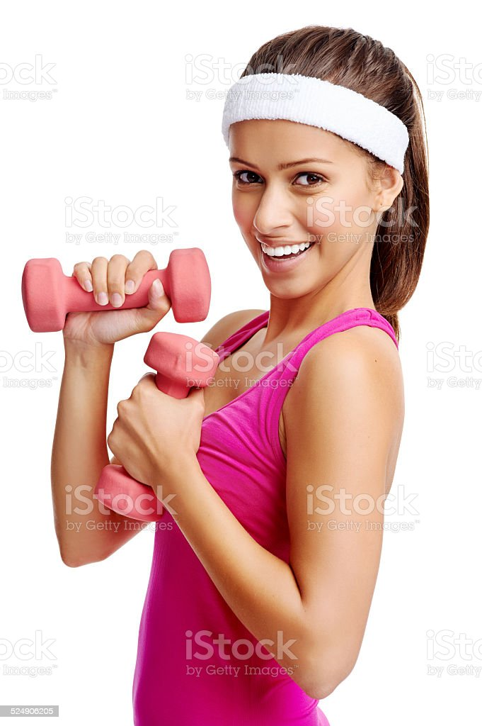 dumbbell woman stock photo