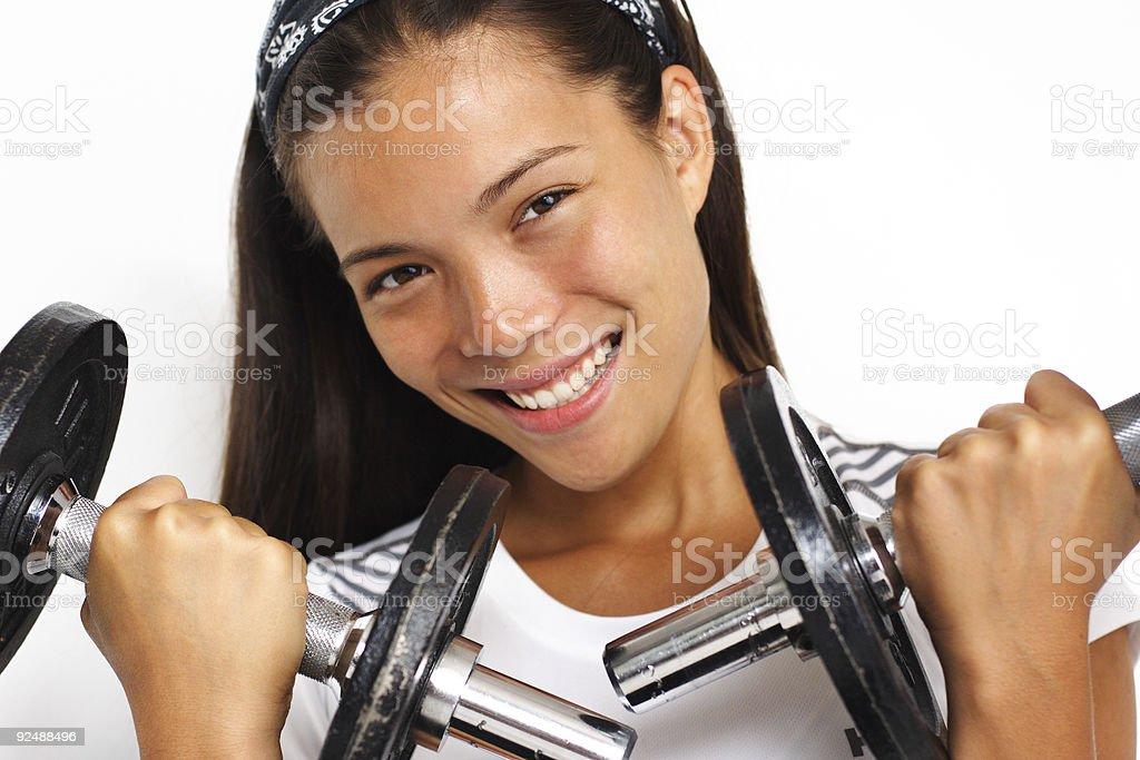Frau training mit Hantel Lizenzfreies stock-foto