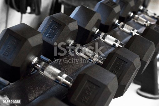 Dumbbells and weights for fitness.