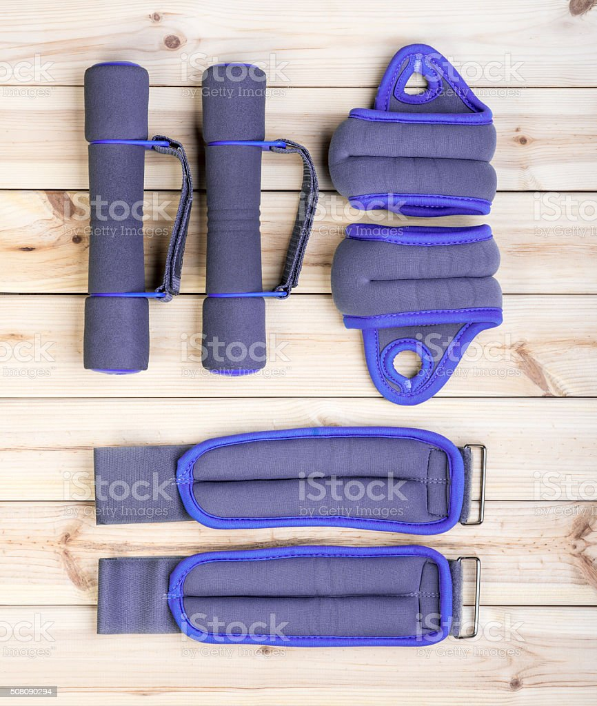Dumbbells, Ankle And Wrist Weights. stock photo