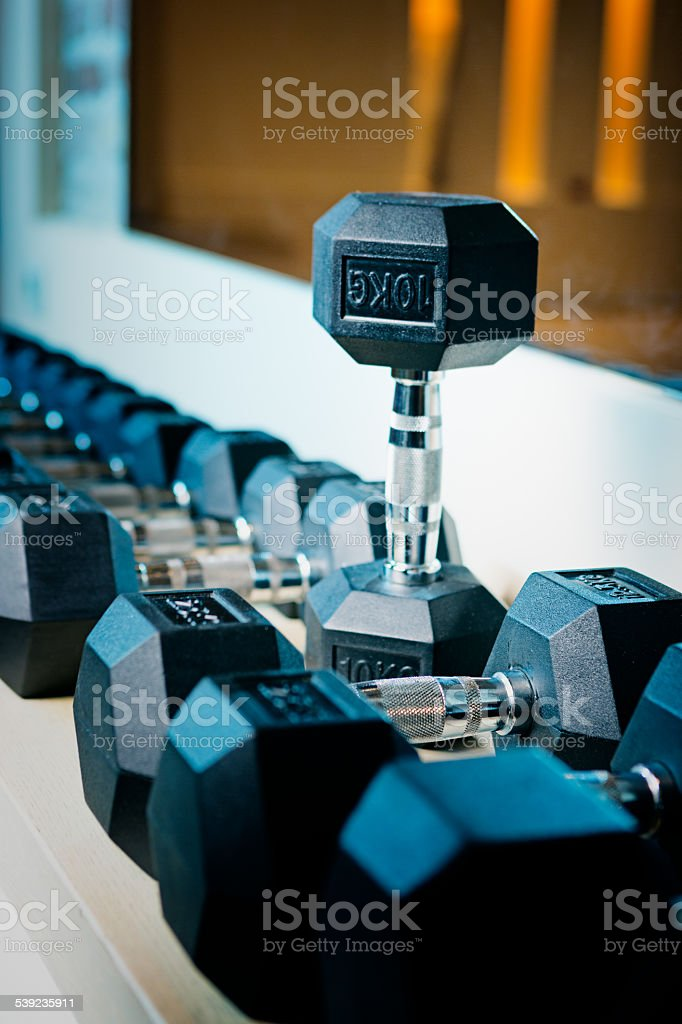 Dumbbells on rack at gym royalty-free stock photo