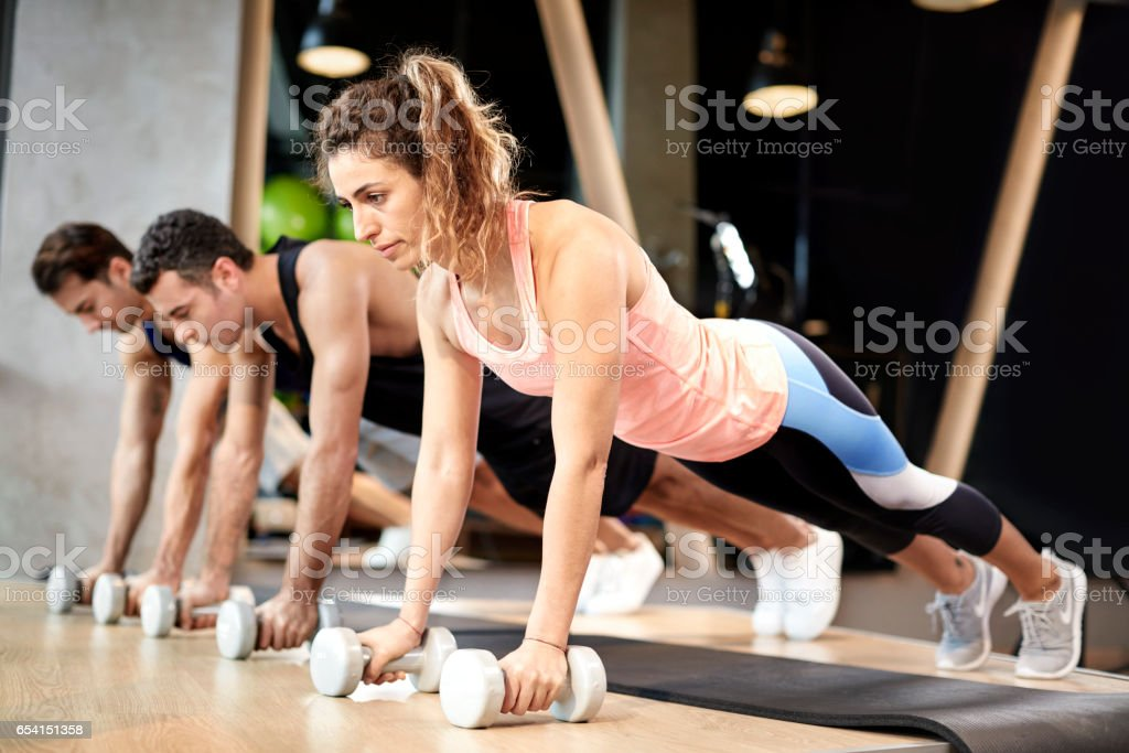 Dumbbells Pushups Pushups Couple At Fitness Gym Workout