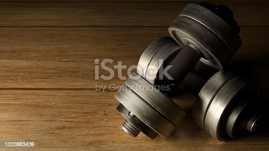 The dumbbells  wood floor dark tone 3d rendering for fitnesses content.